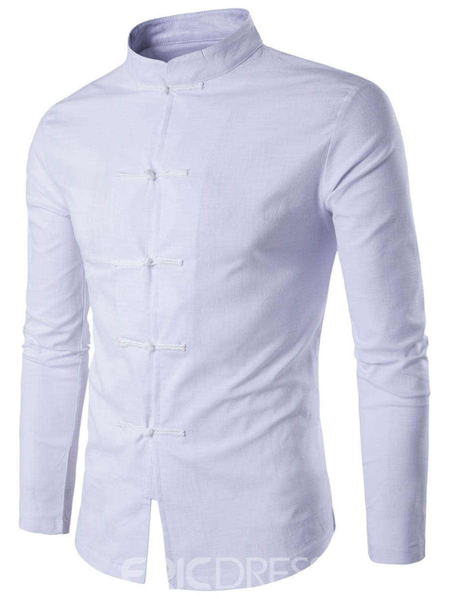 Ericdress Simple Plain Stand Collar Long Sleeve Men's Shirt