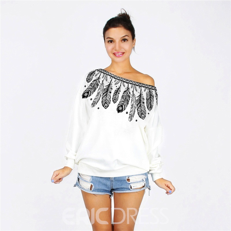 Ericdress Halloween Loose Feather Oblique Collar Cool Hoodie