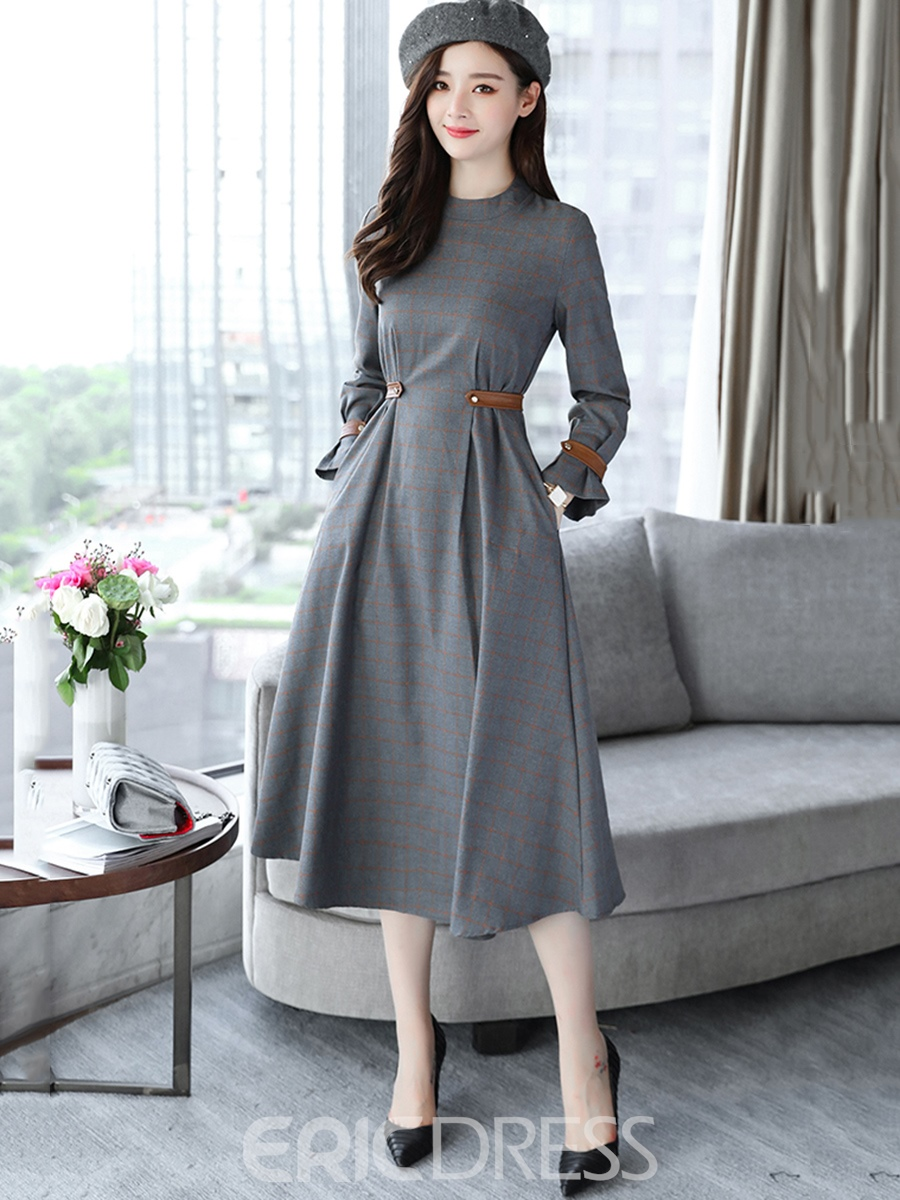 Ericdress Solid Color Pocket Expansion Long Sleeve Dress