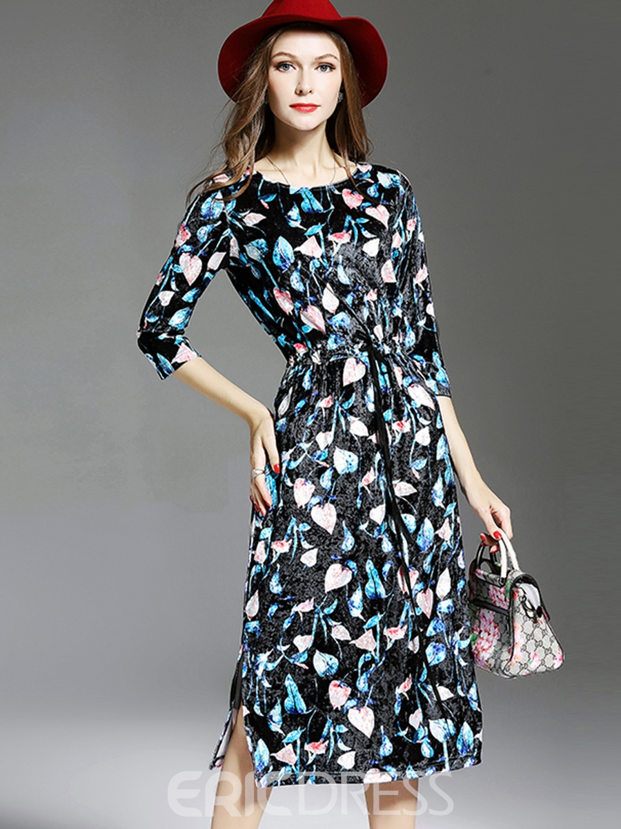 Ericdress Lace-Up Print Fall A Line Dress