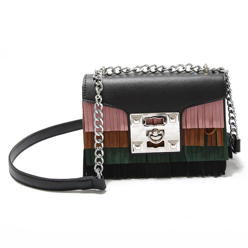 Ericdress Trendy Colorful Tassel Patchwork Crossbody Bag