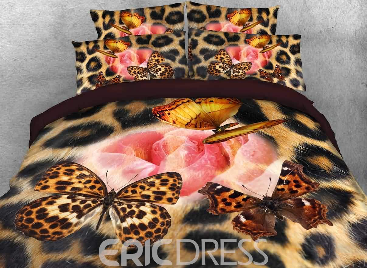 Vivilinen Pink Rose and Leopard Butterfly Printed 4-Piece 3D Bedding Sets/Duvet Covers