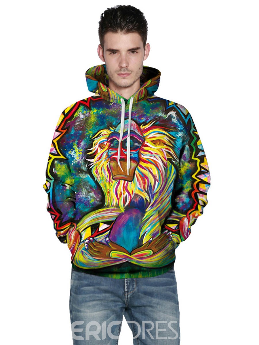 Ericdress Unique Print Loose Casual Men's Hoodie