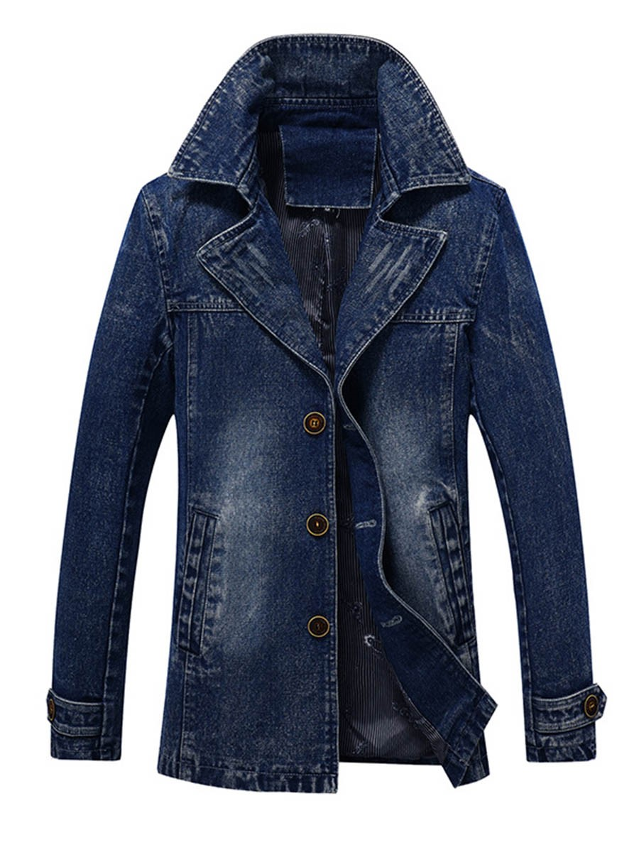 Ericdress Denim Lapel Slim Men's Trench Coat