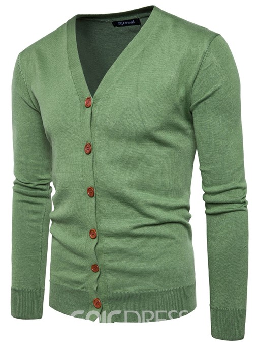 Ericdress V-Neck Slim Long Sleeve Men's Cardigan Sweater