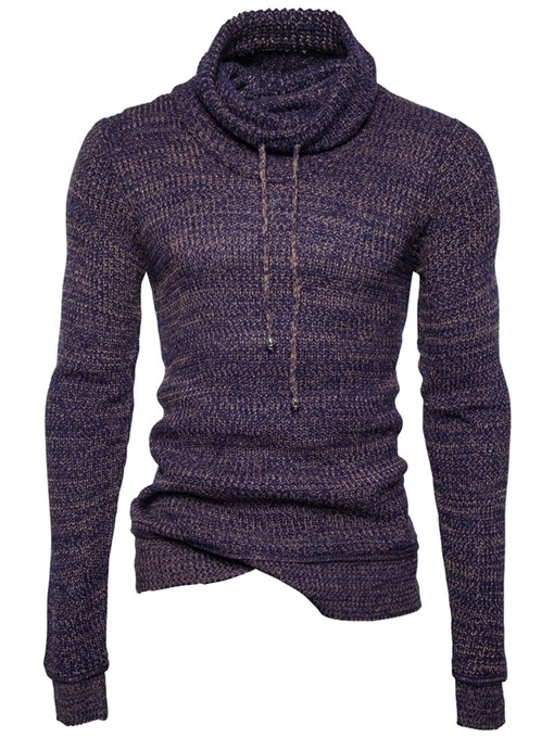 Ericdress Heap Collar Solid Color Pullover Men's Sweater