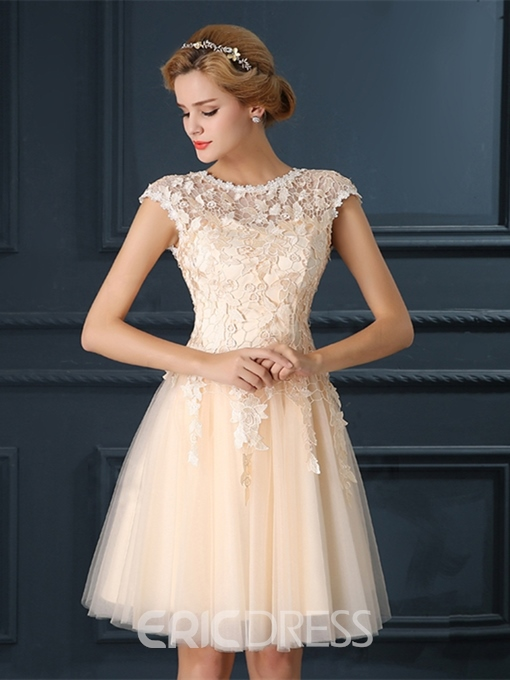 Ericdress A-Line Lace Cap Sleeves Knee-Length Homecoming Dress
