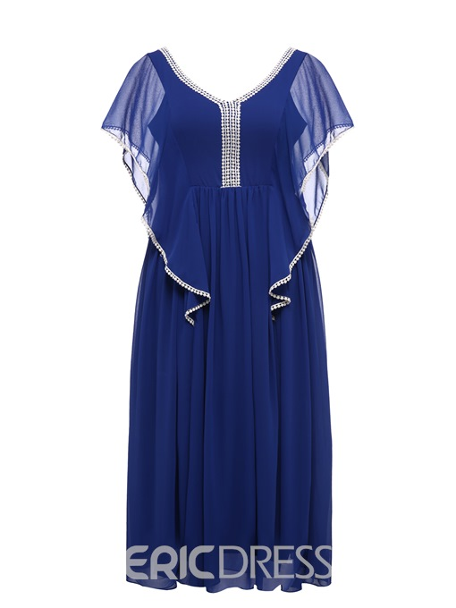 Ericdress Plus Size V-Neck Short Sleeve Backless High Waist Pullover Dress