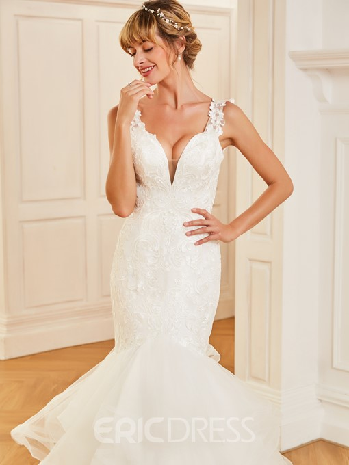 Ericdress Straps Appliques Trumpet Wedding Dress