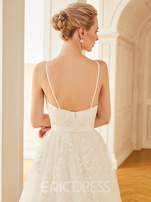 Ericdress Spaghetti Straps Appliques A Line Tulle Wedding Dress