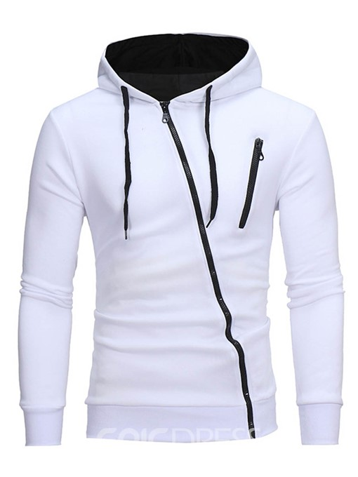 Ericdress Hooded Oblique Zipper Lace-Up Men's Hoodie