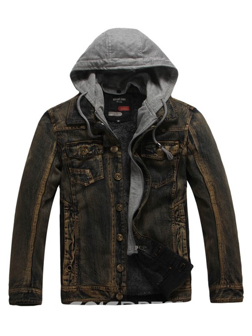 Ericdress Patched Thick Winter Hooded Men's Small Size Denim Jacket