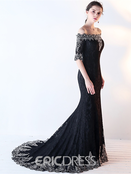 Ericdress Lace Mermaid Off The Shoulder Half Sleeve Evening Dress