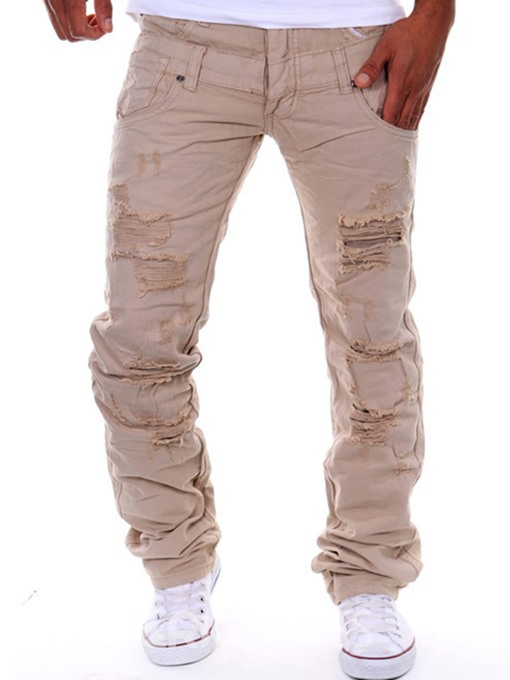 Ericdress Plain Casual Holes Men's Jeans