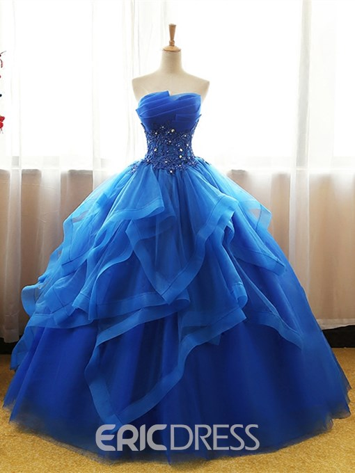 Ericdress Strapless Applique Beaded Ball Quinceanera Gown