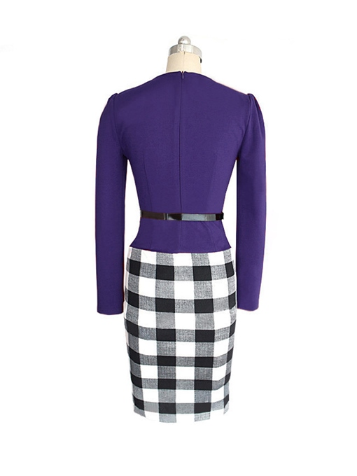 Ercidress Color Block Plaid Sheath Dress