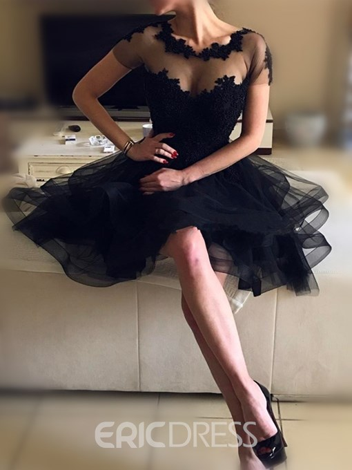 Ericdress A-Line Beading Backless Short Sleeves Knee-Length Homecoming Dress