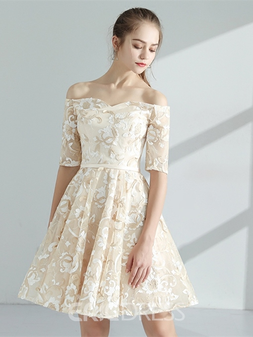 Ericdress A Line Off The Shoulder Lace Homecoming Dress With Half Sleeve