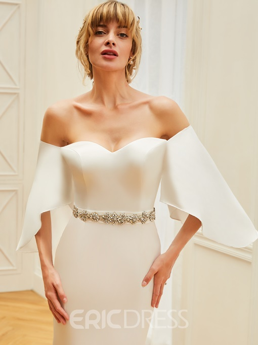 Ericdress Off The Shoulder Mermaid Matte Satin Wedding Dress