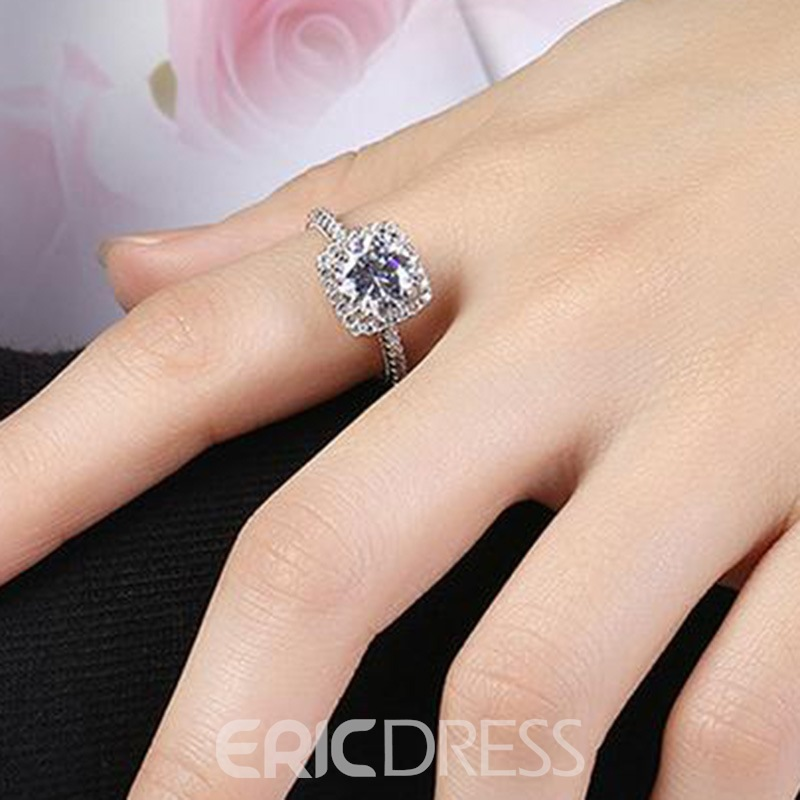 MarkChic Hot Round Cut S925 Sterling Silver Wedding Ring for Women