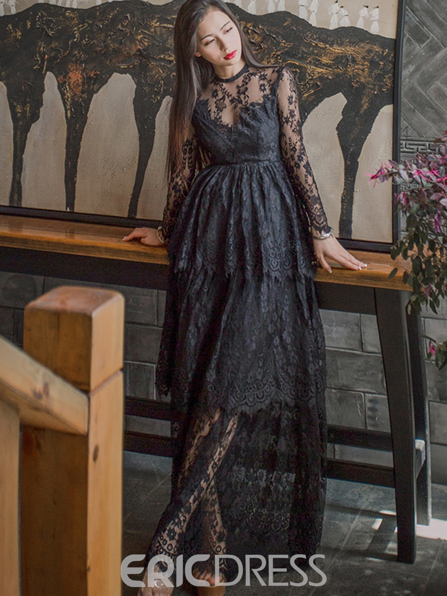 Ericdress Scoop Floor-Length Mesh Lace Maxi Dress