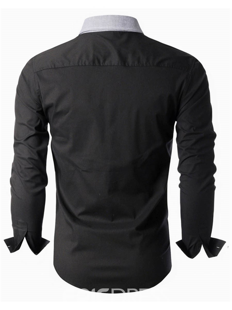 Ericdress Unique Color Block Long Sleeve Slim Men's Shirt