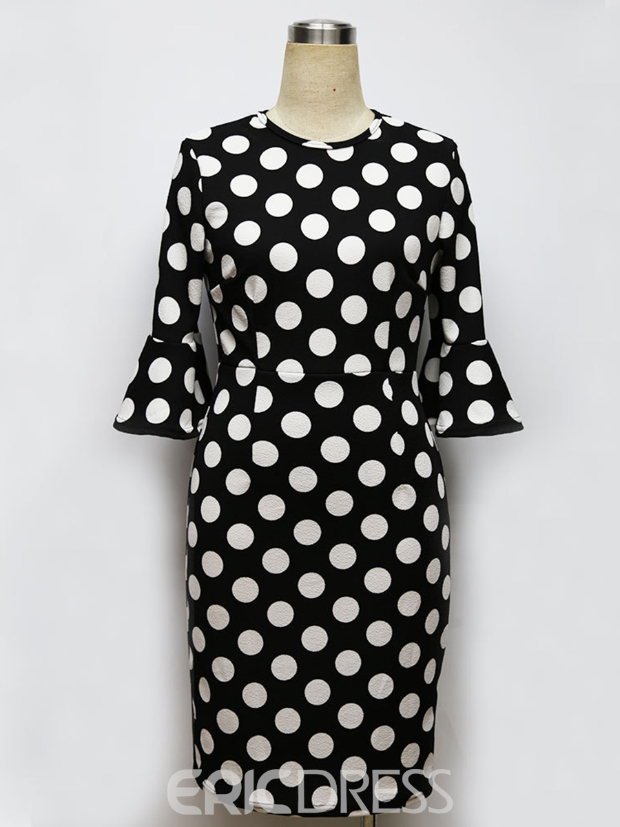 Ericdress Scoop Half Ruffle Sleeves Polka Dot Bodycon Dress