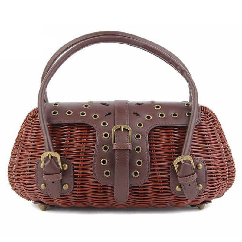 Ericdress Casual Belt-Decorated Straw Handbag