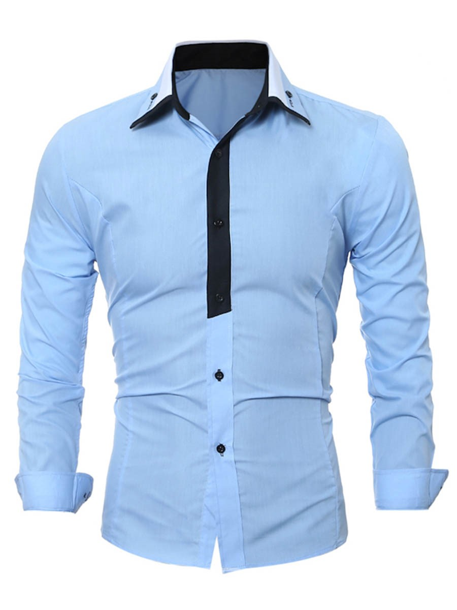 Ericdress Color Block Patched Long Sleeve Slim Men's Shirt