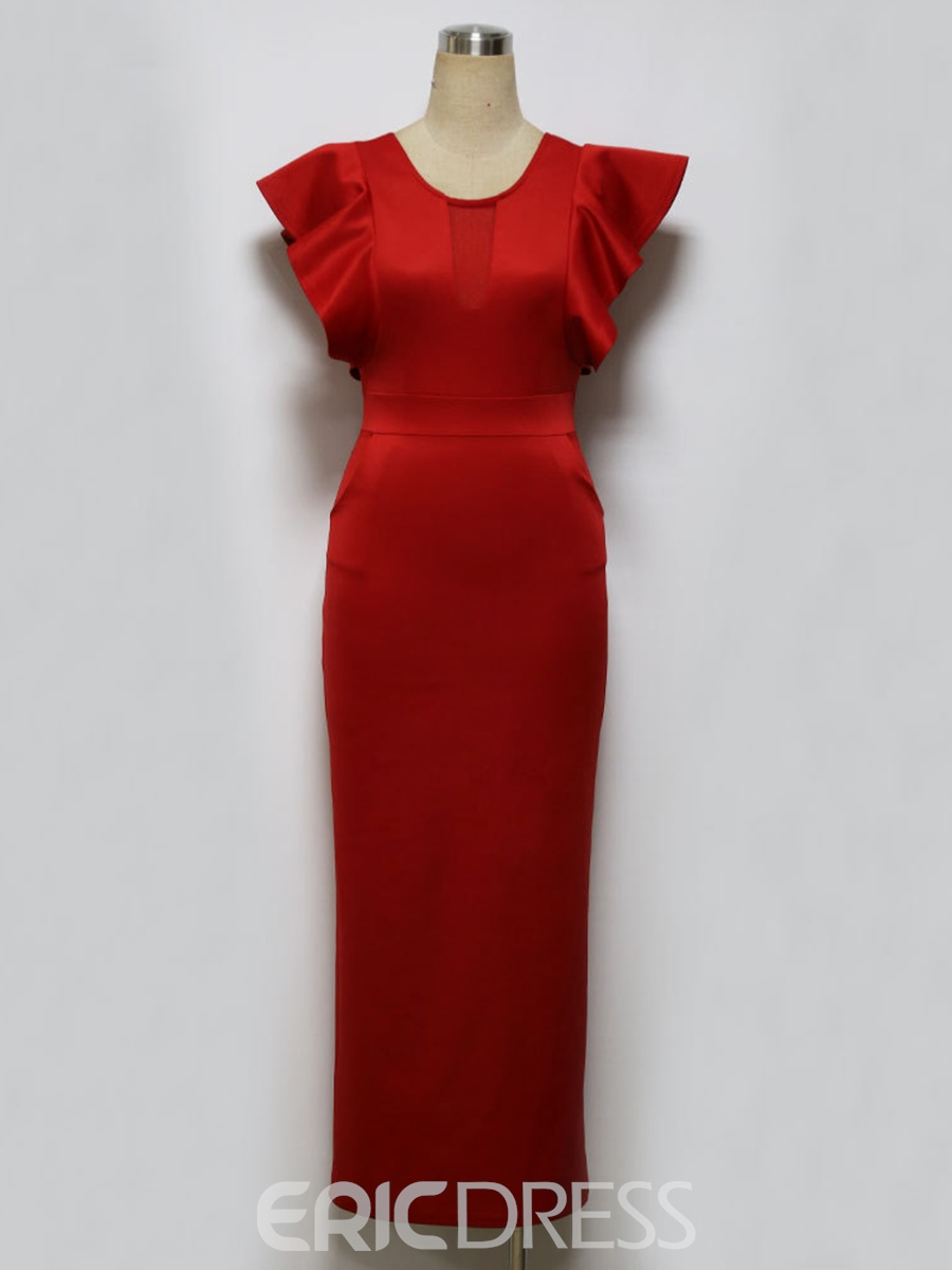 Ericdress Ruffled Pocket Pencil Sheath Dress