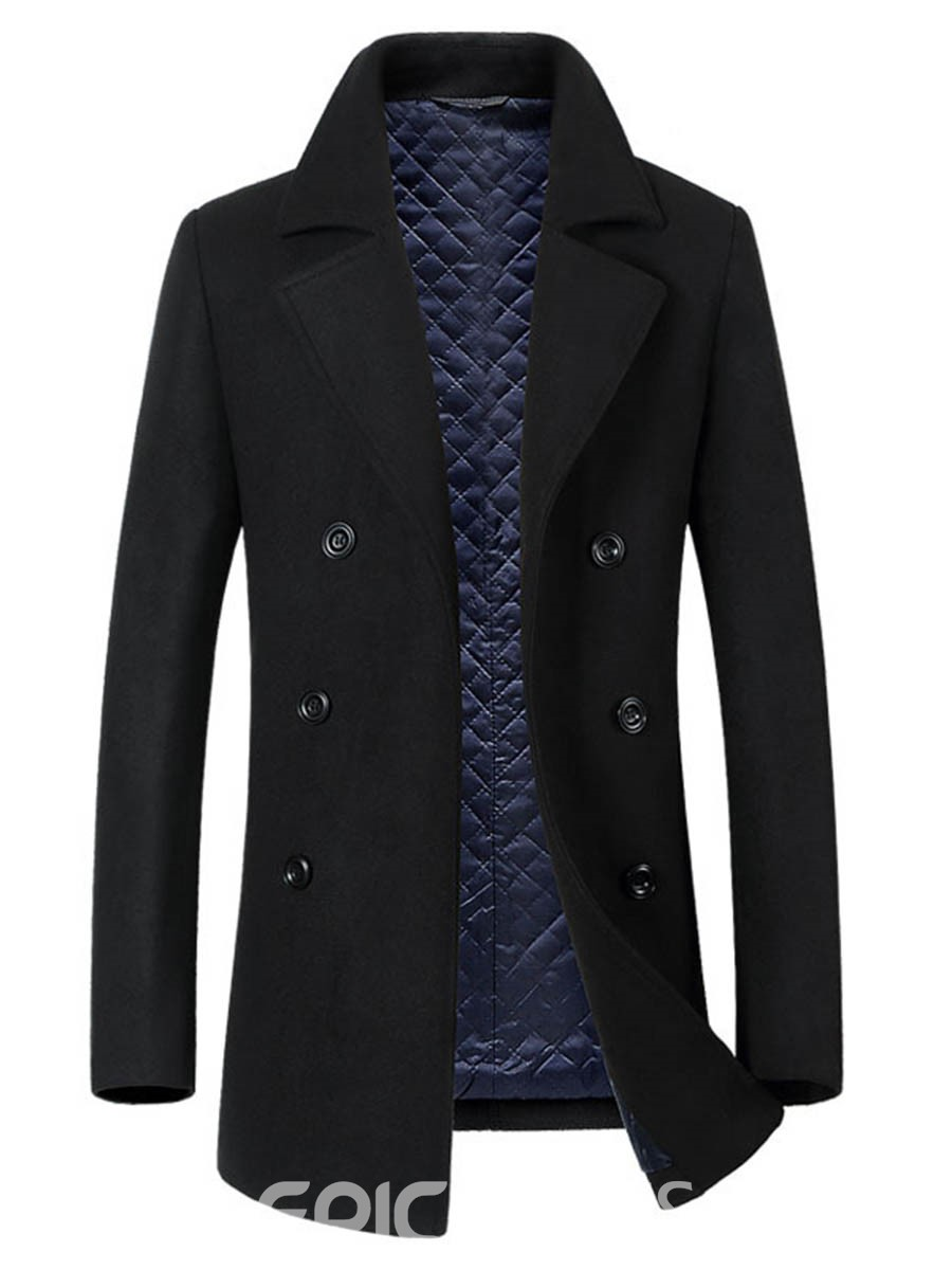 Ericdress Plain Lapel Double-Breasted Slim Men's Woolen Coat