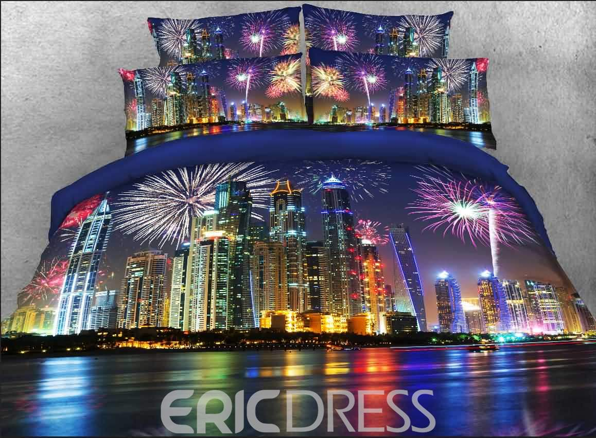 Vivilinen 3D Night Cityscape Printed Cotton 4-Piece Bedding Sets/Duvet Covers