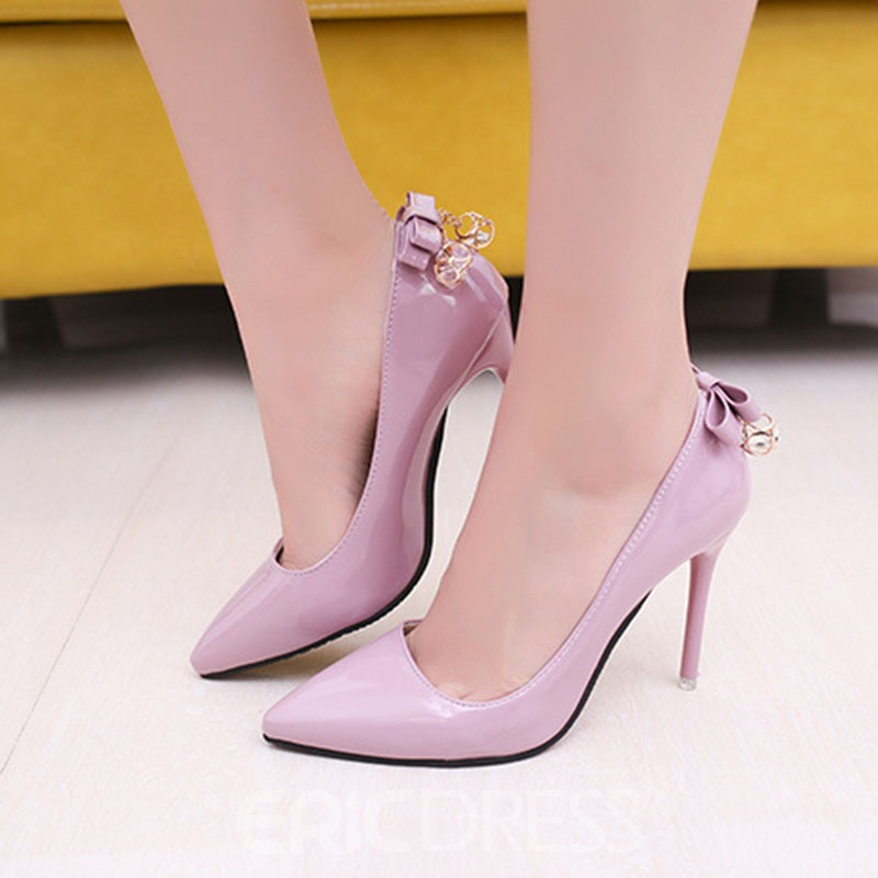 Ericdress Professional Slip-On Stiletto Heel Pumps With Bowknot