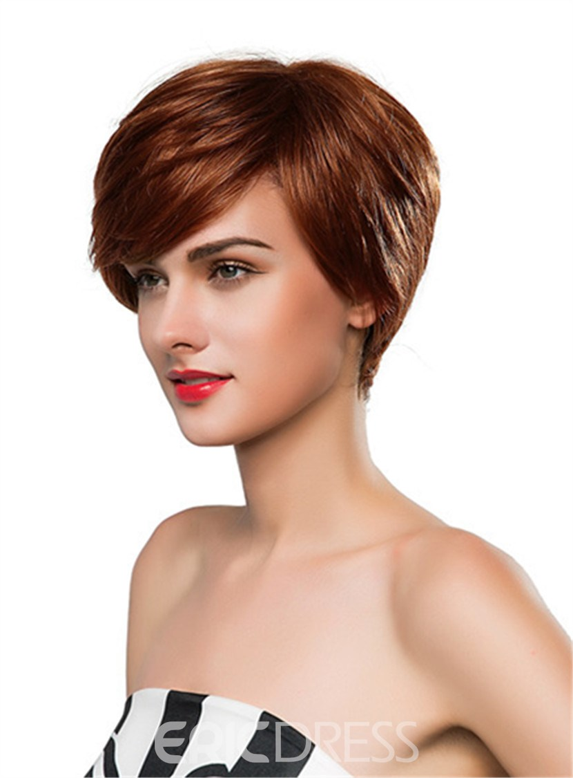 Ericdress Straight Short Side Part Human Hair Capless Wig 10 Inches