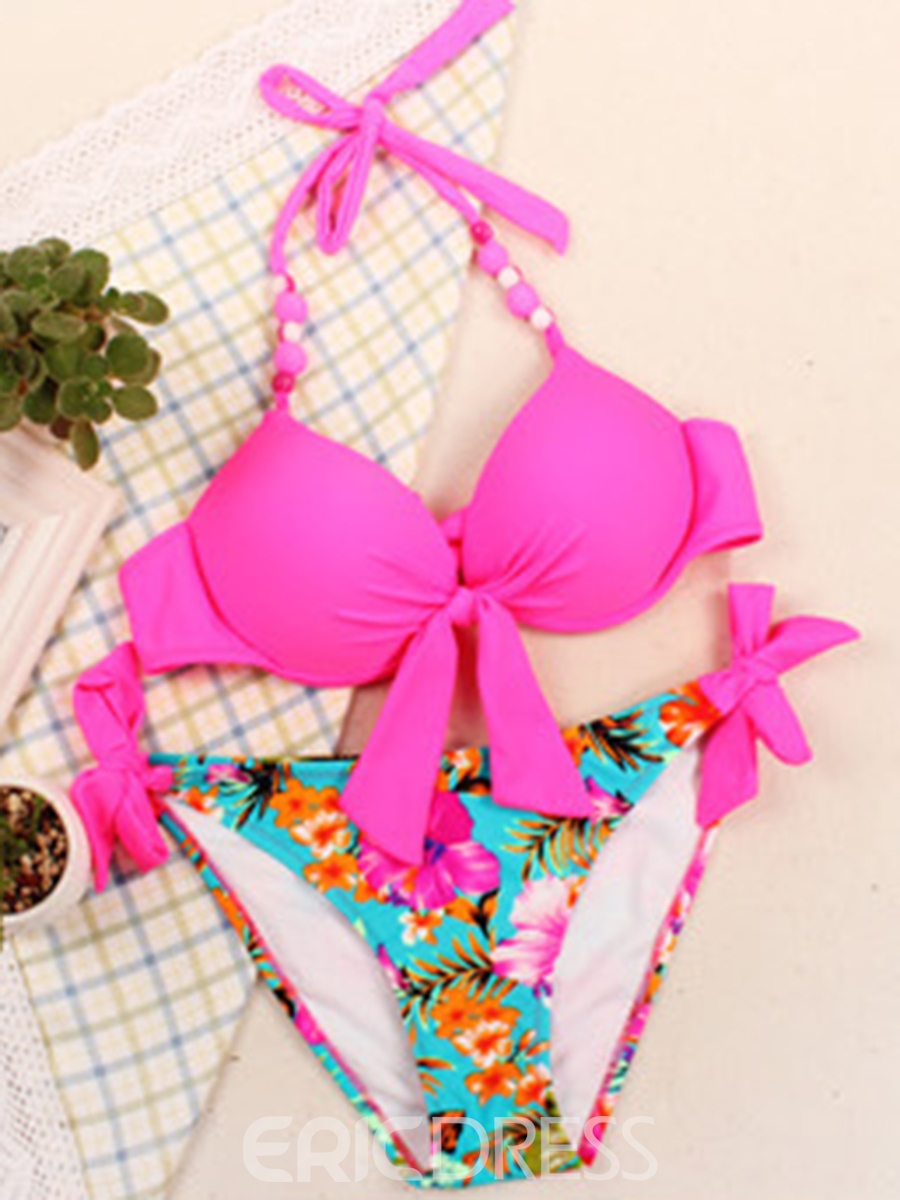 Ericdress Flower Print Pleated Halter Bikini Set