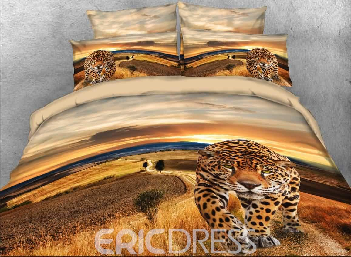 Vivilinen Leopard Walking on Road Printed Cotton 4-Piece 3D Bedding Sets/Duvet Covers