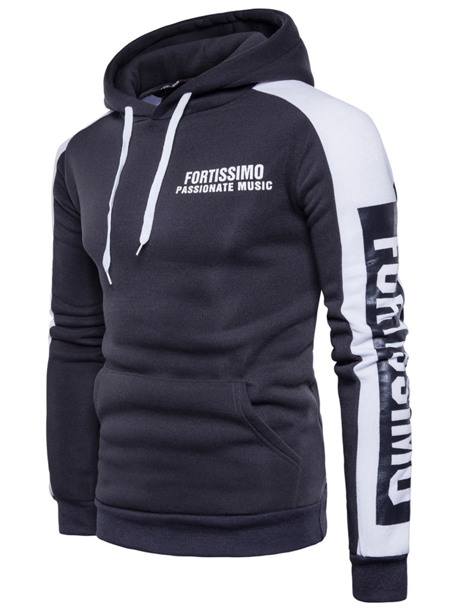 Ericdress Hooded Color Bblock Pullover Men's Hoodie