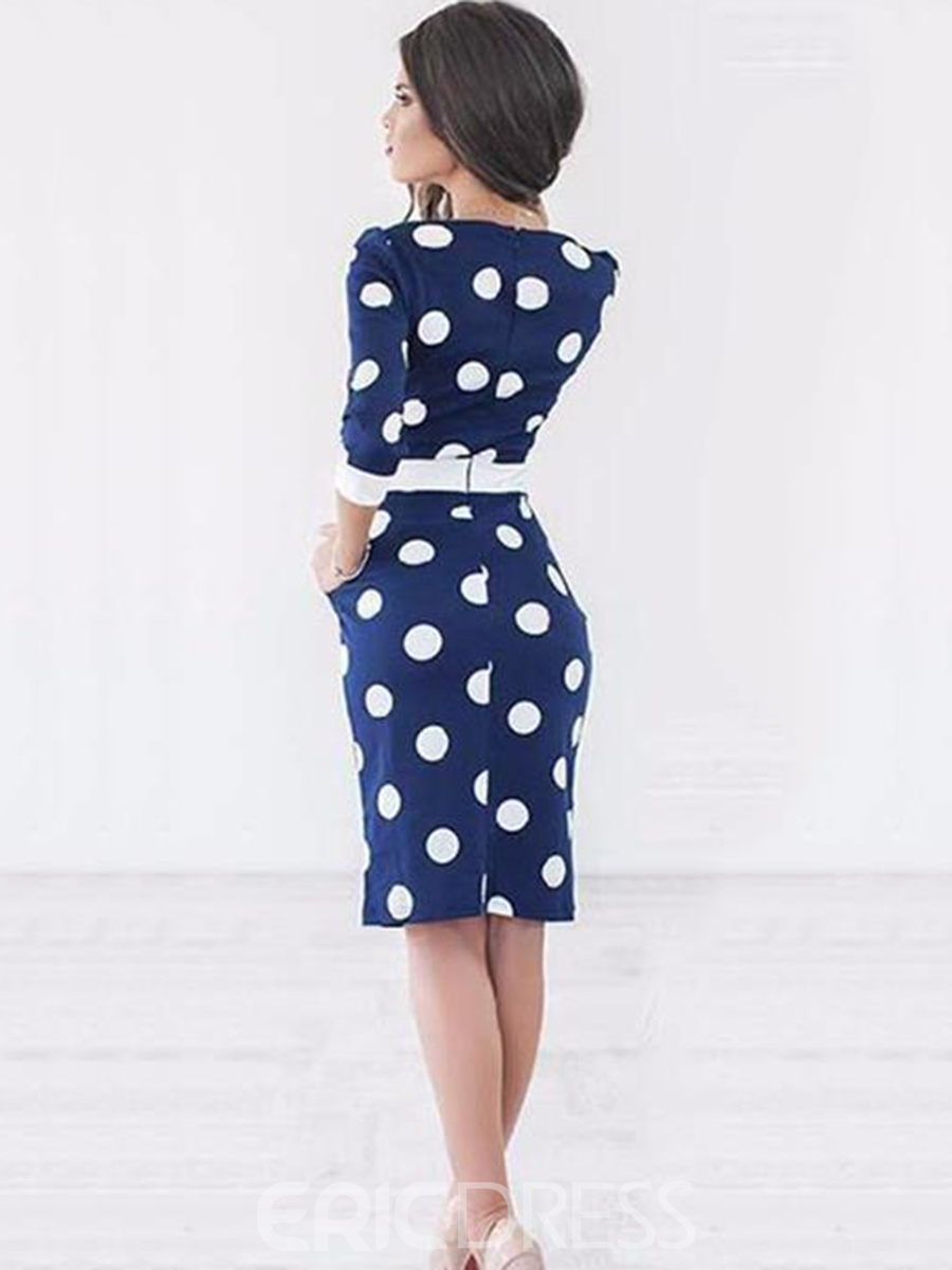 Ericdress Knee-Length Bowknot Polka Dot Bodycon Dress