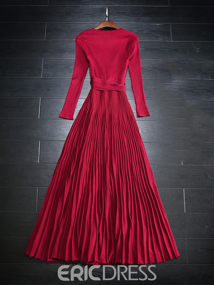Ericdress V Neck Pleated Lace Up Plain Sweater Maxi Dress