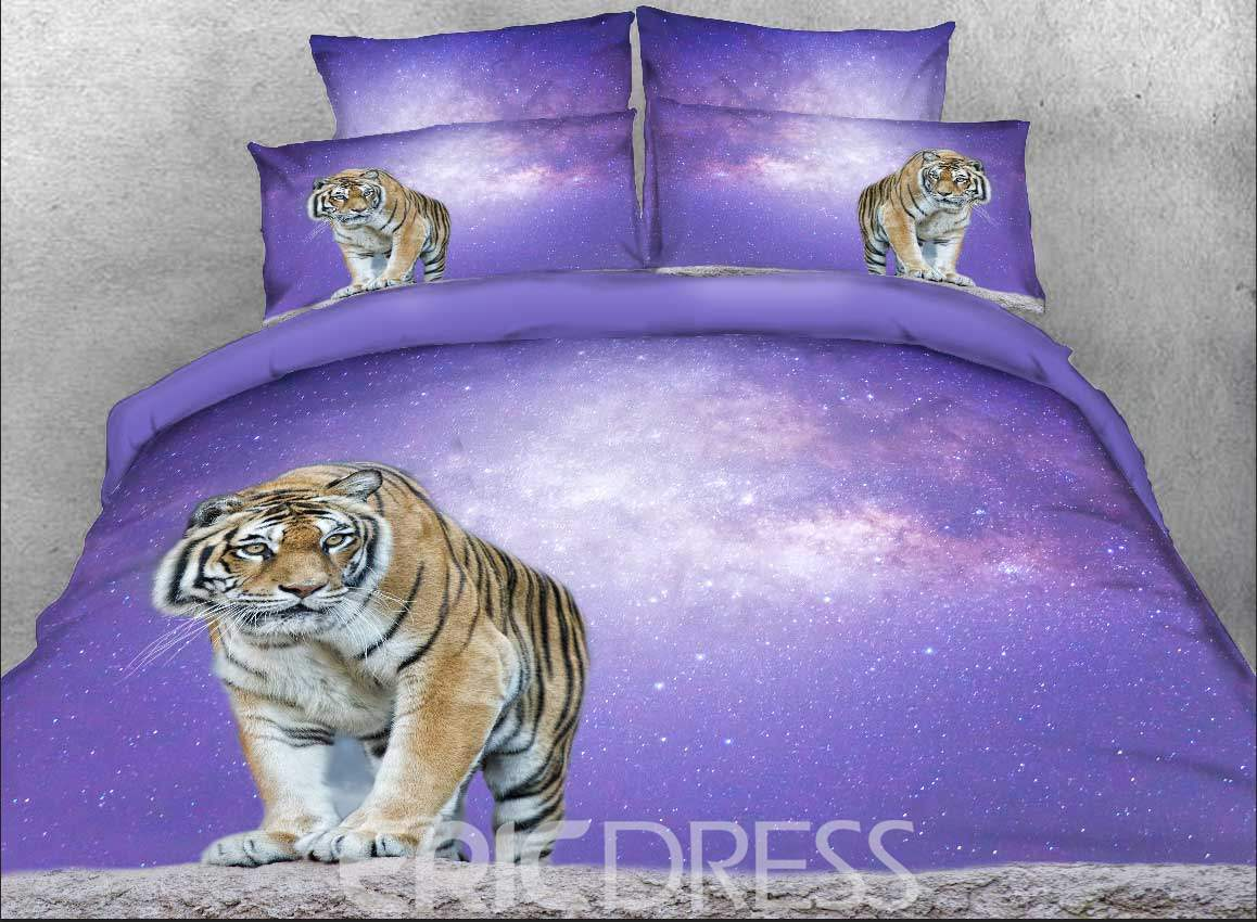 Bengal Tiger and Purple Galaxy Printed 4-Piece 3D Bedding Sets/Duvet Covers