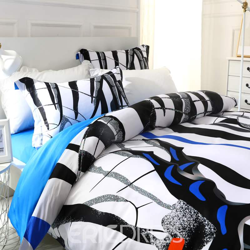 Adorila 60S Brocade Zebra Butterflies Wings Pattern 4-Piece Cotton Bedding Sets/Duvet Cover