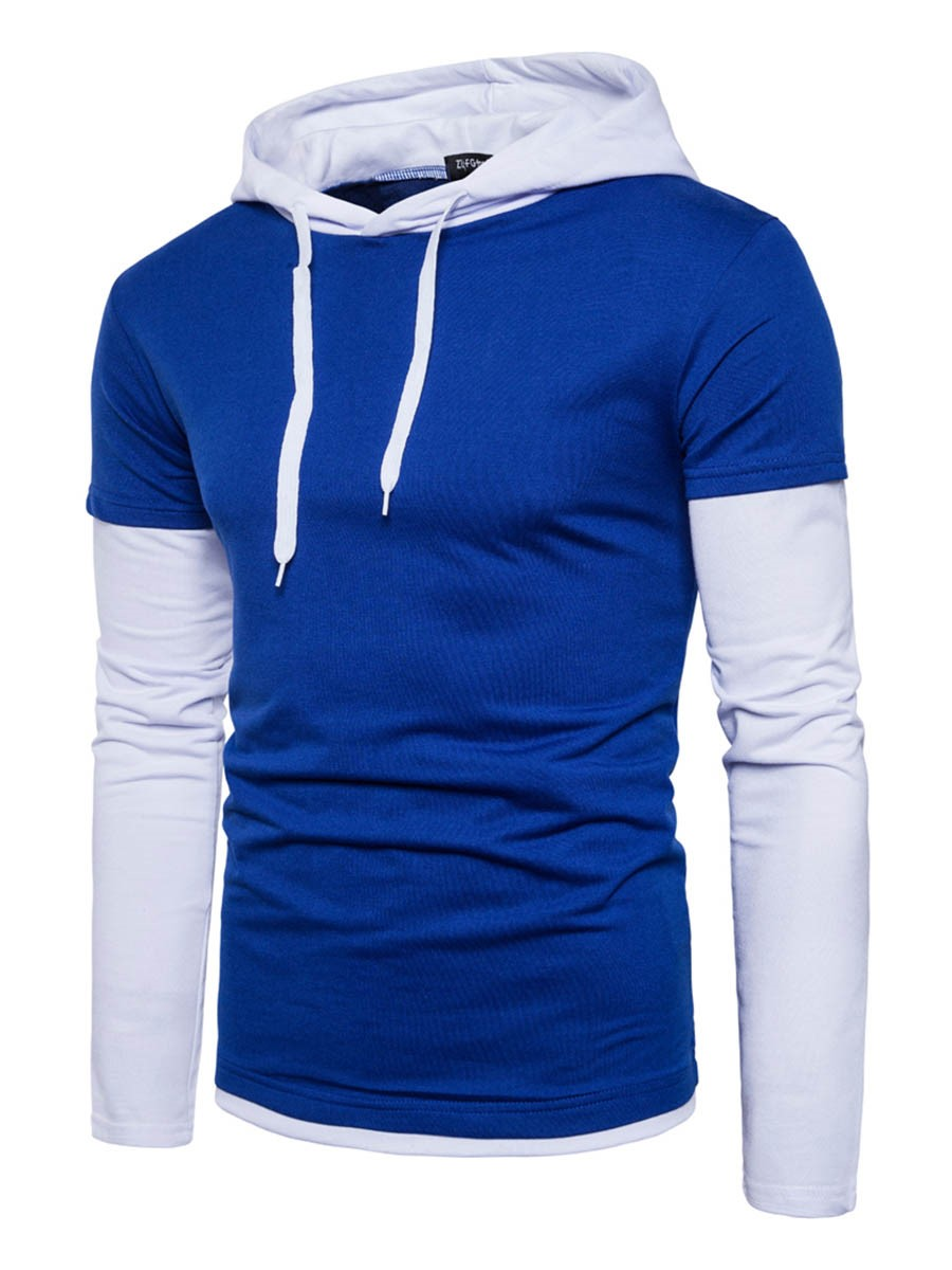 Ericdress Hooded Patchwork Color Block Lace-Up Men's Hoodie