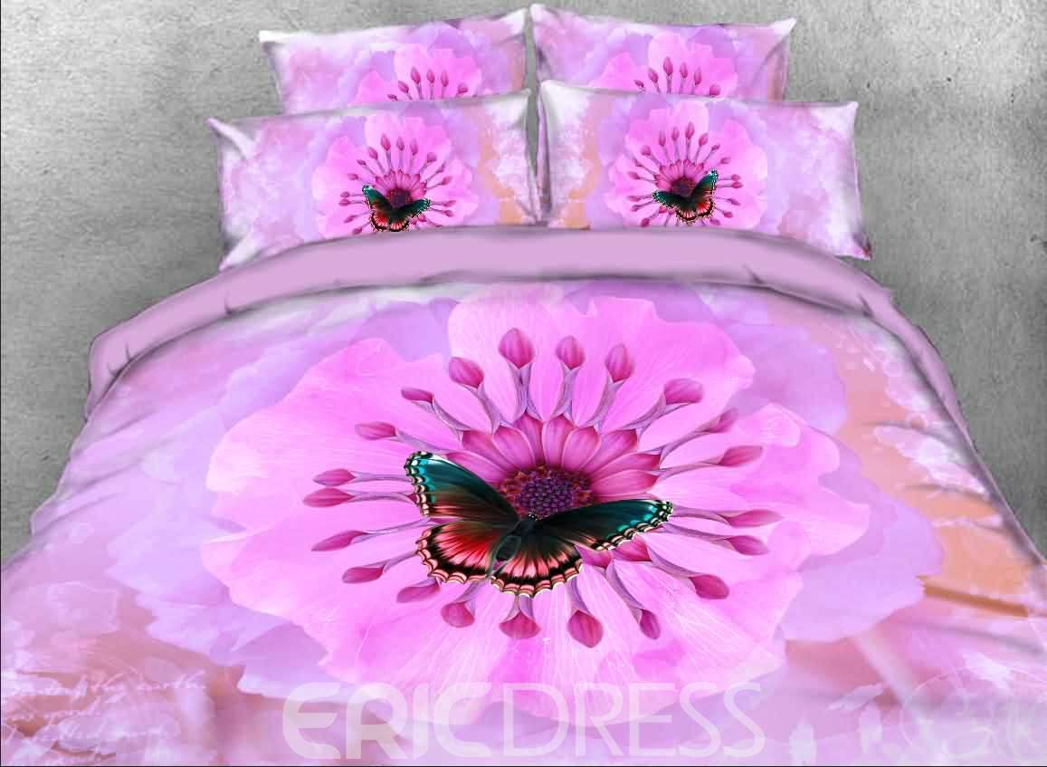 Vivilinen 3D Blooming Pink Flower and Butterfly Printed 4-Piece Bedding Sets/Duvet Covers