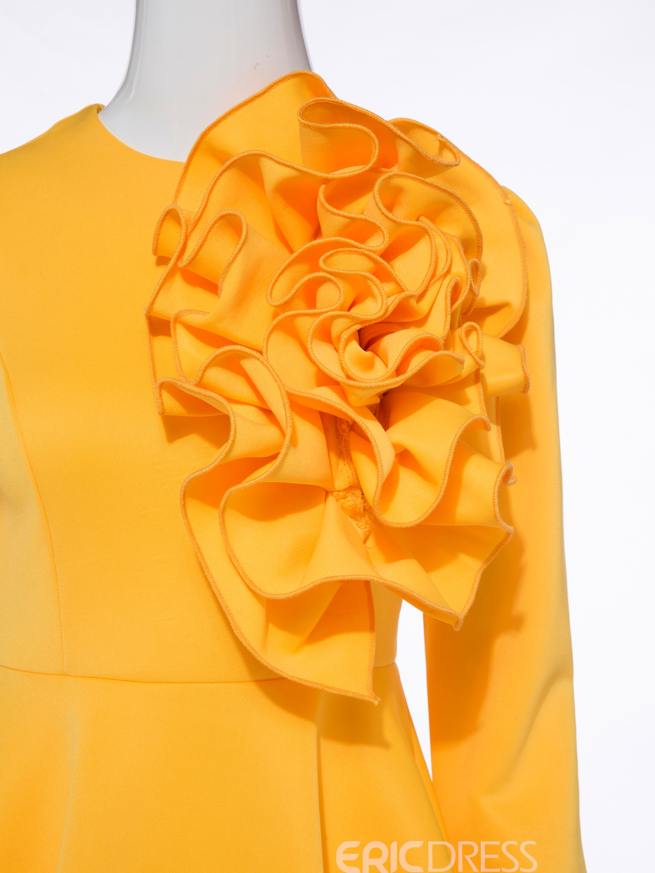 Women's Clothing Yellow Peplum Ruffles