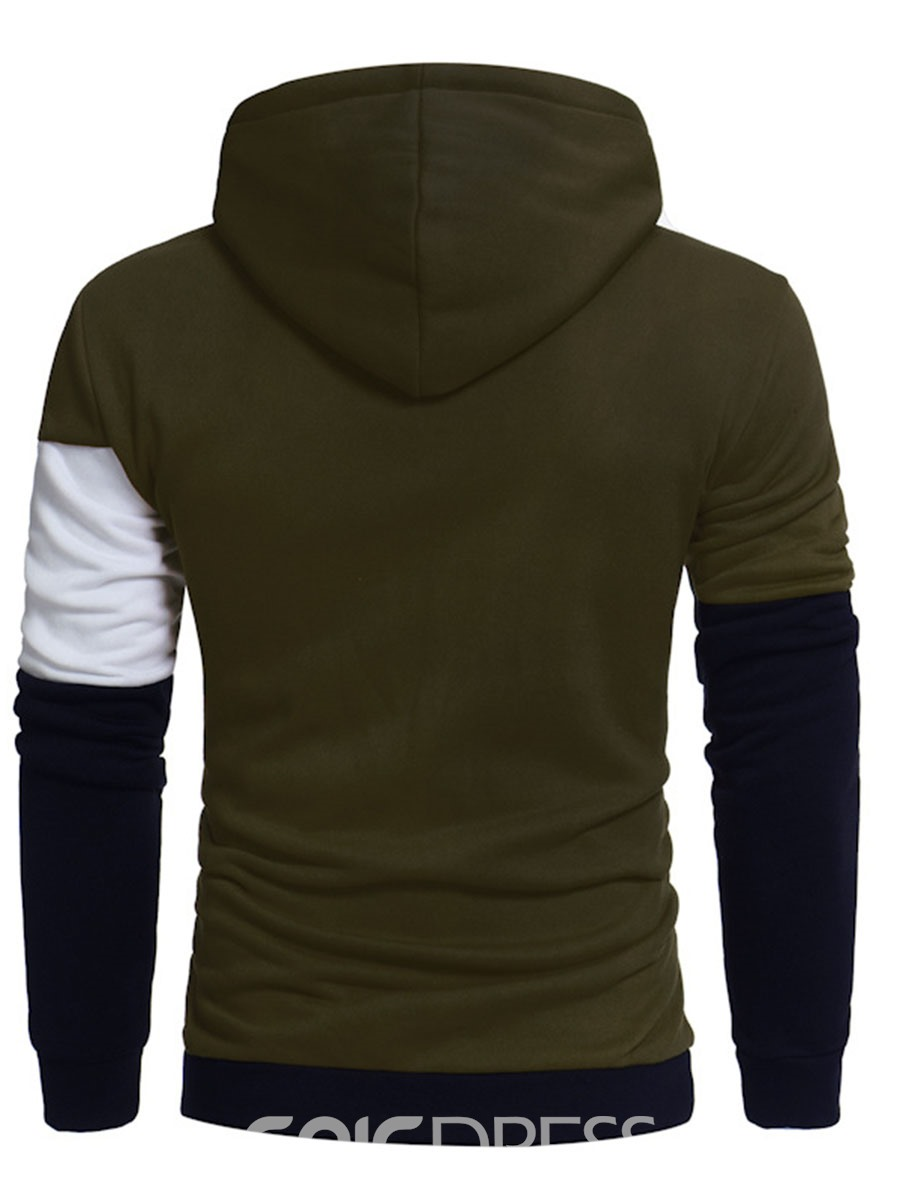 Ericdress Long Sleeve Color Block Patched Casual Men's Hoodie