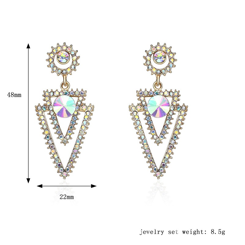 Ericdress Diamante Triangle Pendant Earring for Women