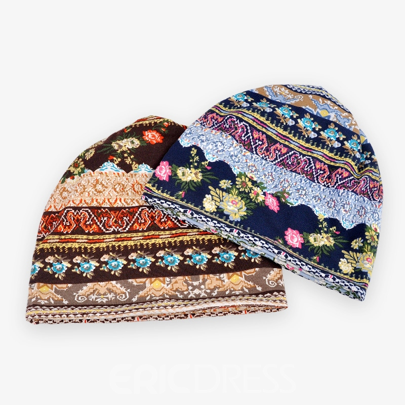 Ericdress All Match Flower Printed Cotton Cozy Hat