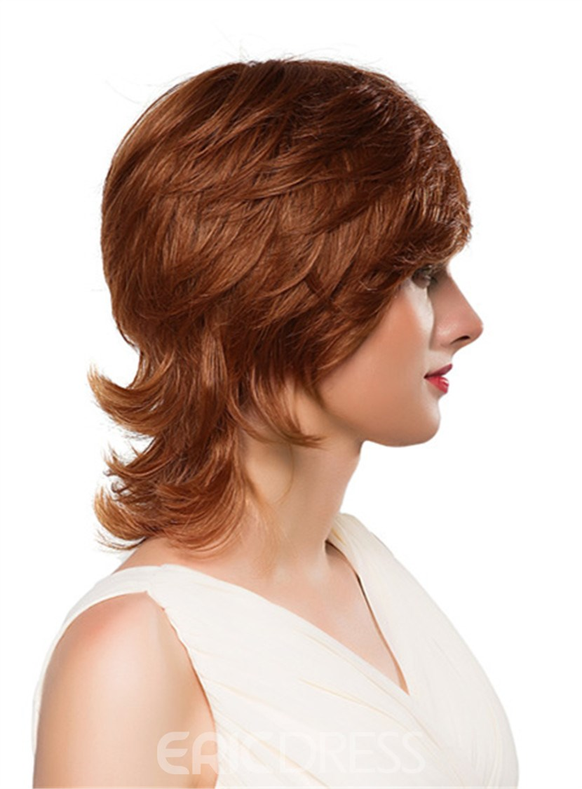 Ericdress Medium Curly Layered Human Hair Capless Wig 14 Inches