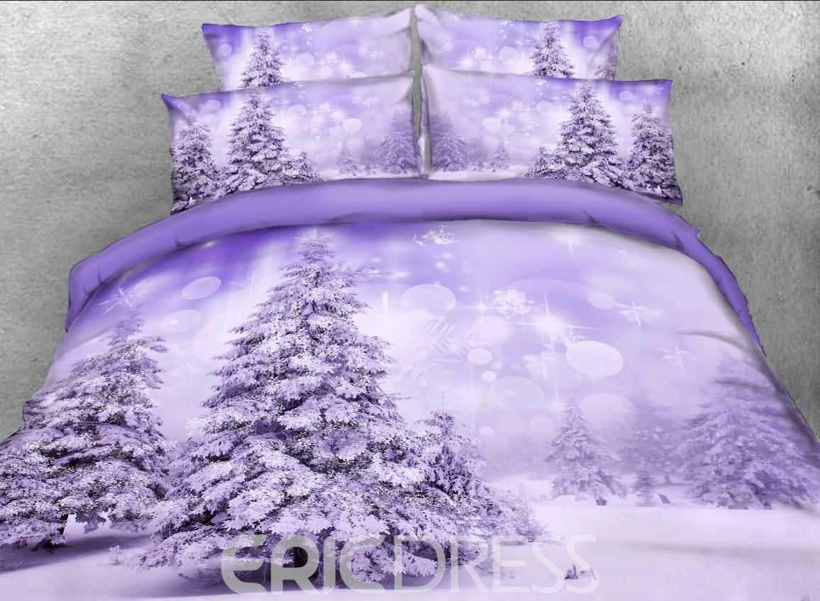 Snowy Trees Printed Cotton 3D 4-Piece Bedding Sets/Duvet Covers