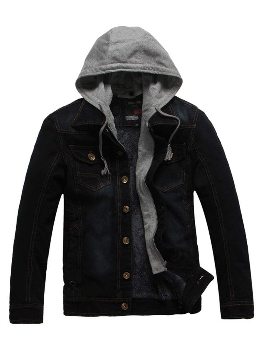 Ericdress Patched Winter Thick Men's Hooded Denim Jacket